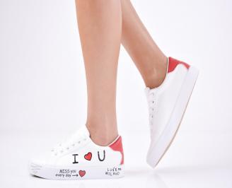 Дамски спортни обувки  еко кожа бели AJCG-1011426