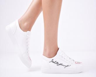 Дамски спортни обувки  еко кожа бели KUQD-1011427