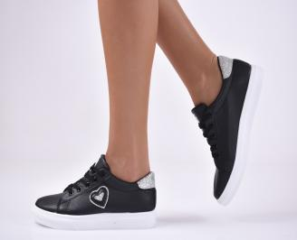 Дамски спортни  обувки еко кожа черни RUQK-1012759