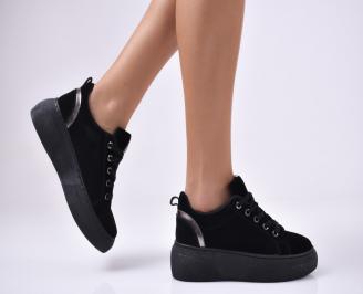 Дамски спортни  обувки еко велур черни AQUL-1012764