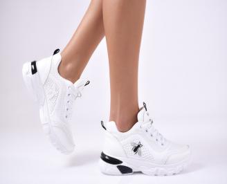 Дамски спортни  обувки еко кожа бели CENM-1012778