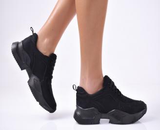 Дамски спортни  обувки еко велур  черни UASN-1012825
