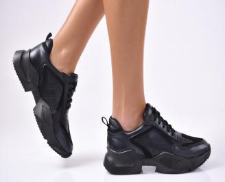 Дамски спортни  обувки еко кожа/ велур  черни JQSN-1012826