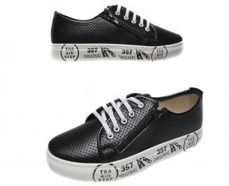 Дамски спортни обувки еко кожа черни CJAU-21178