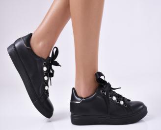 Дамски спортни обувки  еко кожа черни XQBV-25154