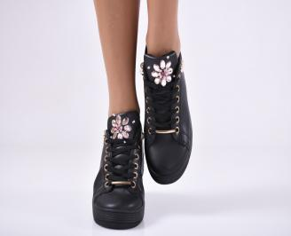 Дамски спортни обувки  еко кожа черни QNOC-25155