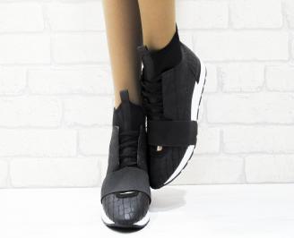 Дамски спортни обувки еко кожа/текстил черни YEJF-25373