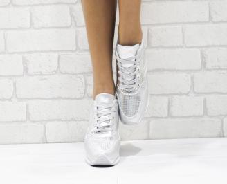 Дамски спортни обувки  еко кожа сребристи 4