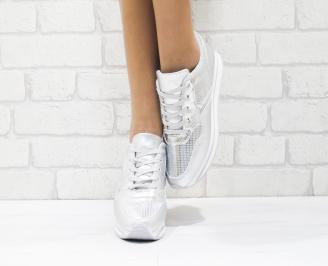 Дамски спортни обувки  еко кожа сребристи ILPL-26415