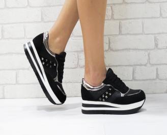 Дамски спортни обувки  еко кожа/велур черни WDQA-26416