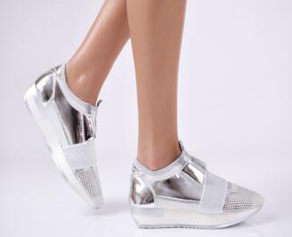 Дамски спортни обувки  еко кожа/текстил сребристи EIKL-26417