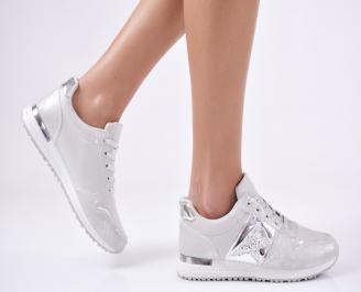 Дамски спортни обувки  еко кожа сребристи WCLK-26419