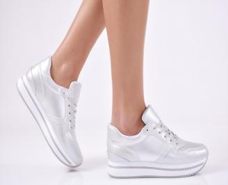 Дамски спортни обувки  еко кожа сребристи YESU-26421
