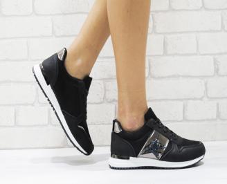 Дамски спортни обувки  еко кожа черни MELX-26432