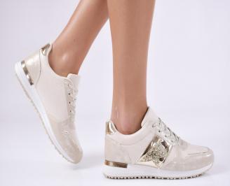 Дамски спортни обувки  еко кожа бежови EWRZ-26433