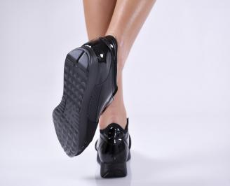 Дамски спортни обувки  еко кожа/текстил черни IKPU-26434