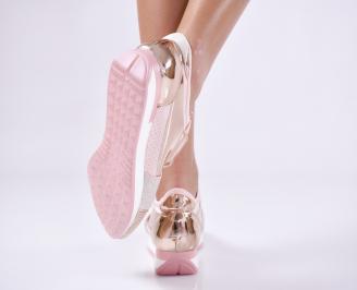 Дамски спортни обувки  еко кожа/текстил розови 3