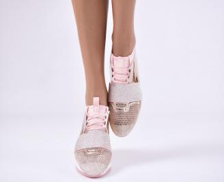 Дамски спортни обувки  еко кожа/текстил розови 4
