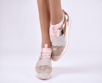 Дамски спортни обувки  еко кожа/текстил розови 5