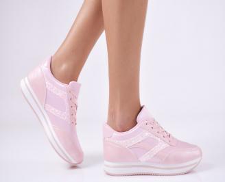 Дамски спортни обувки  еко кожа розови QODD-26436