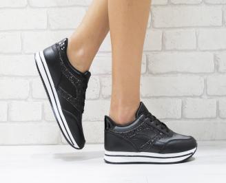 Дамски спортни обувки  еко кожа черни WQKN-26437