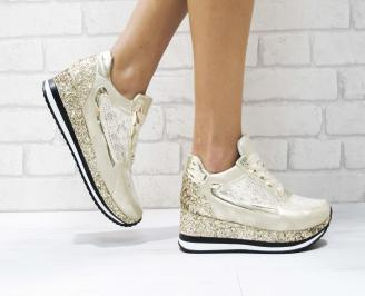 Дамски спортни обувки еко кожа/дантела златисти MAMQ-26444