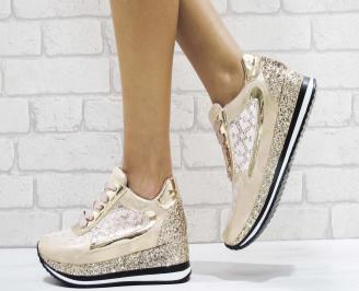 Дамски спортни обувки еко кожа/дантела розови BSJG-26445