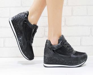 Дамски спортни обувки еко кожа/дантела черни NSRC-26446