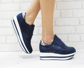 Дамски спортни обувки  еко велур/текстил сини RVHZ-26447