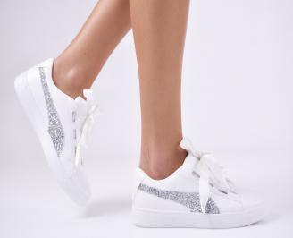 Дамски спортни обувки еко кожа бели QHTW-26454