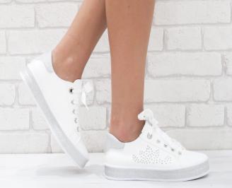 Дамски спортни обувки еко кожа бели QYPD-26455