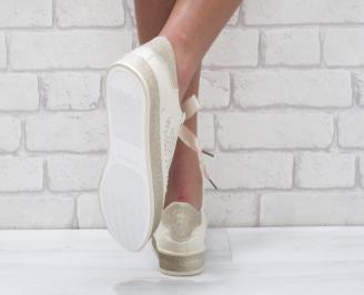 Дамски спортни обувки еко кожа бежови 3