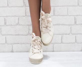 Дамски спортни обувки еко кожа бежови 4
