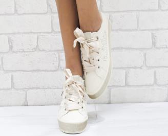 Дамски спортни обувки еко кожа бежови 5