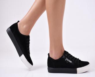 Дамски спортни обувки еко набук черни RYIK-26457