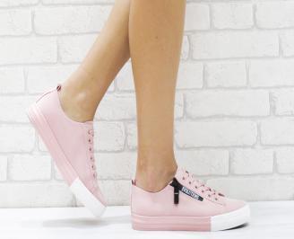 Дамски спортни обувки еко набук розови QSHY-26458