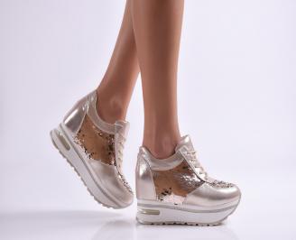 Дамски спортни обувки еко кожа златисти SDXH-26464