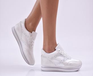Дамски спортни обувки  еко кожа бели KYZM-26872