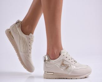 Дамски спортни обувки еко кожа/текстил бежови QGGU-26995