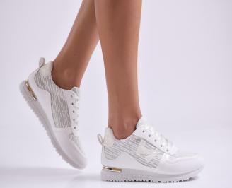 Дамски спортни обувки еко кожа/текстил бели
