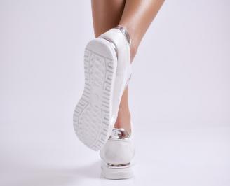 Дамски спортни обувки еко кожа/текстил бели 3