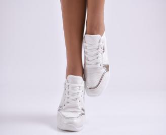 Дамски спортни обувки еко кожа/текстил бели 4