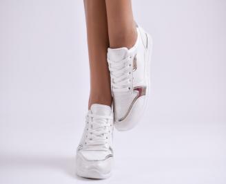 Дамски спортни обувки еко кожа/текстил бели 5