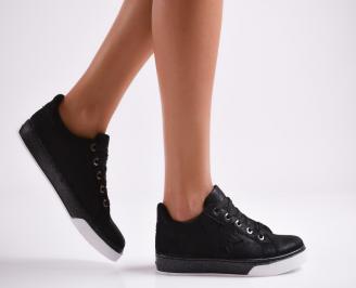 Дамски спортни обувки  еко кожа черни ZTMM-27071