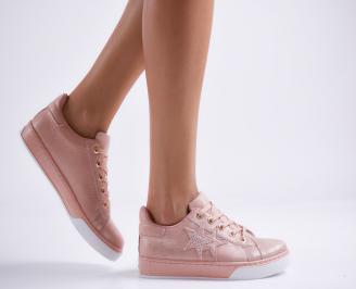 Дамски спортни обувки  еко кожа розови ZAJV-27073