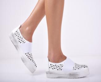 Дамски спортни  обувки естествена кожа бели WFTW-1011690