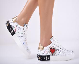 Дамски спортни обувки  естествена кожа бели GXDW-1011696