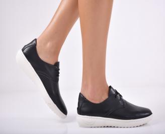Дамски спортни обувки  естествена кожа  черни EJNA-1011698