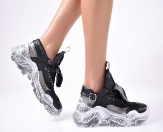 Дамски спортни обувки естествена кожа черни. CAUI-1013299