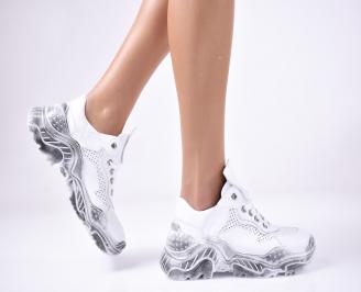 Дамски спортни обувки естествена кожа бели. HOTM-1013300